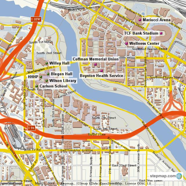 Uofm Campus Map.Stepmap Uofm Campus Landkarte Fur World