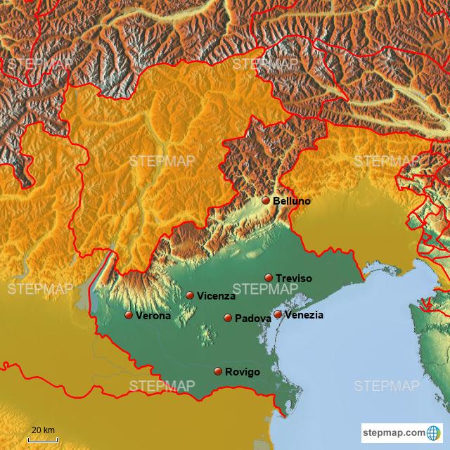 Cartina Politica Del Veneto.Stepmap Veneto Politica Landkarte Fur Italy