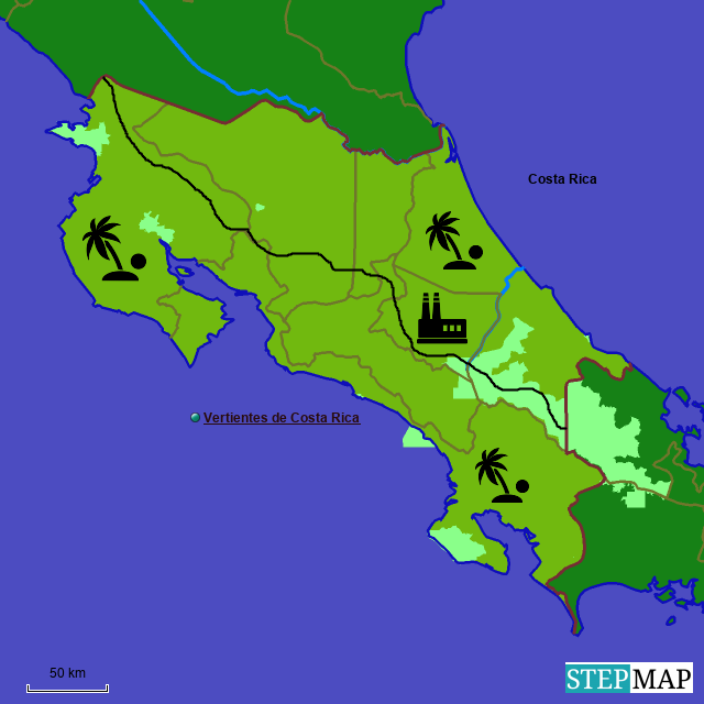 stepmap vertientes de costa rica landkarte für world