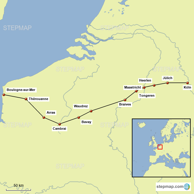 StepMap - Via Belgica - Landkarte für Belgium on