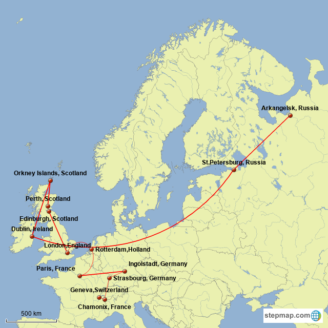 Stepmap Victor Frankenstein S Travels Landkarte Fur Germany