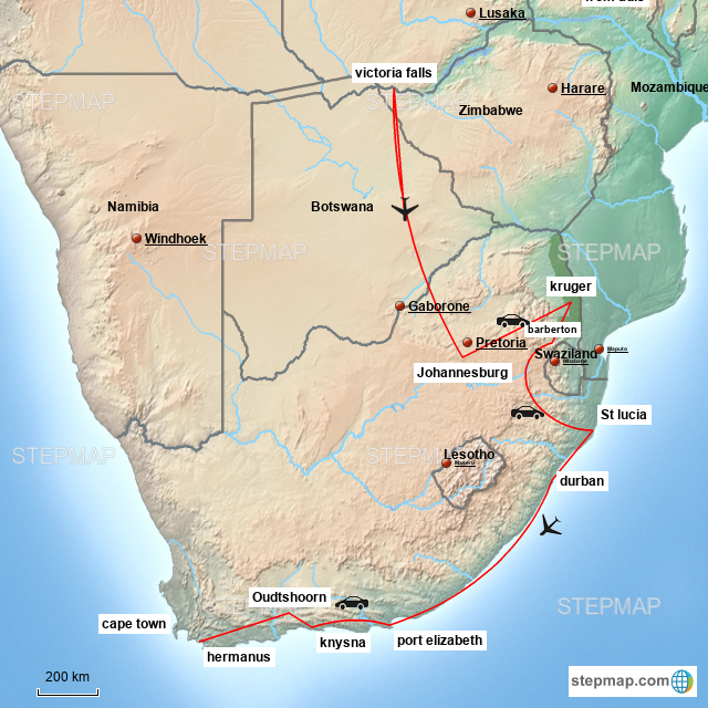 Stepmap Victoria Falls And South Africa Landkarte Fur South Africa