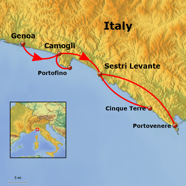Italy Map Cinque Terre.Stepmap Walking In Portofino And The Cinque Terre Landkarte Fur