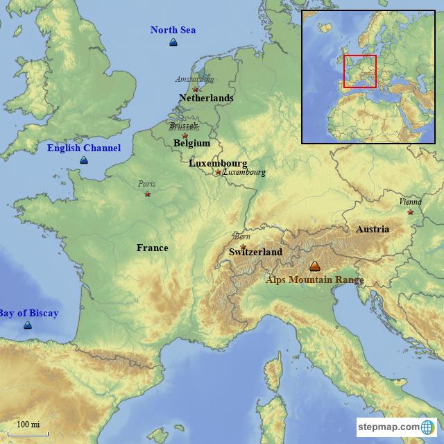 Stepmap Western Europe Map Landkarte Fur France