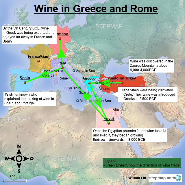 Map Of Spain And Greece.Stepmap Wine In Greece And Rome Landkarte Fur Germany