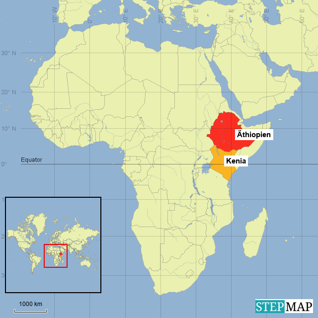 StepMap - World- Kenia and Ethiopia highighted - Landkarte ...
