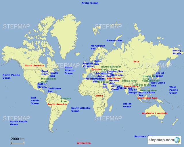 World Map Bering Strait.Stepmap World Map