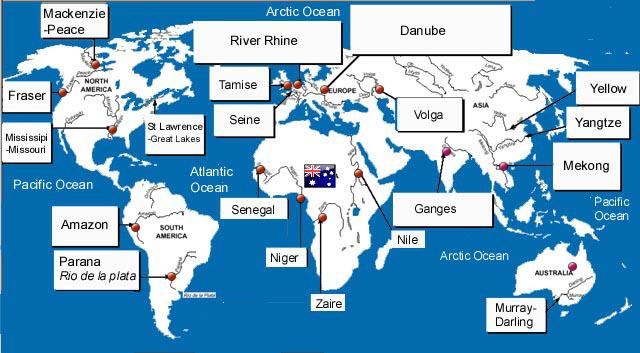 StepMap - World River Locations - Landkarte für USA