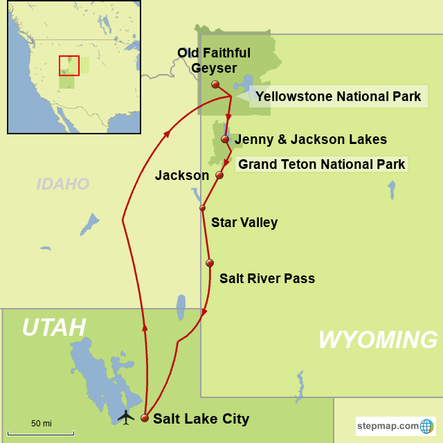 StepMap - Yellowstone, Grand Tetons & Jackson Hole - Landkarte für USA
