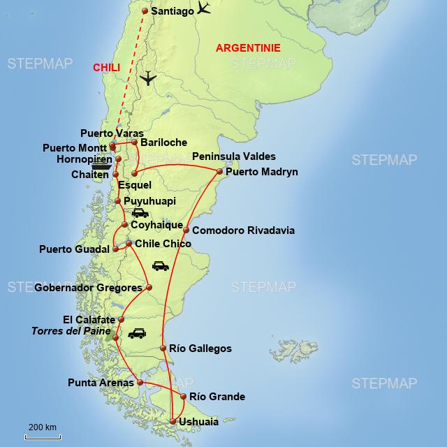 StepMap - carretera austral van Leeuwen 2 Chili, Argentinië ... on