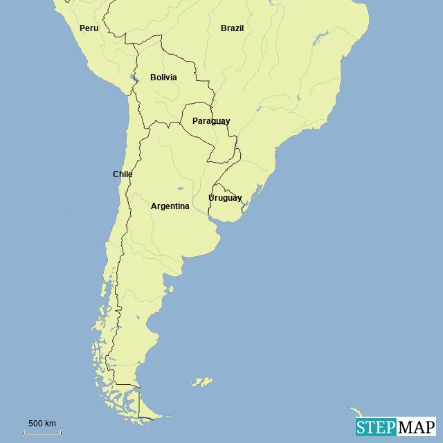 StepMap - countries in bottom of south america - Landkarte für Argentina