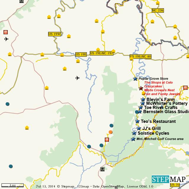 StepMap   eat and shop in celo, n.c.   Landkarte für World