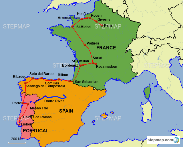 Map Of Spain Portugal And France.Stepmap France Spain Portugal Landkarte Fur France
