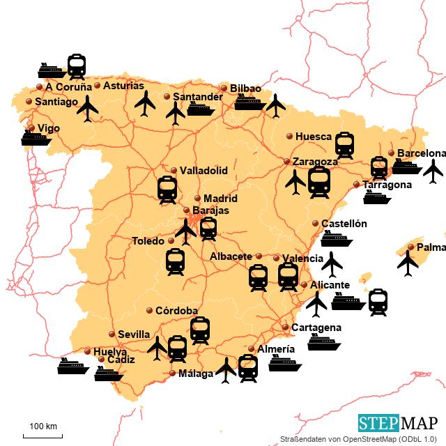 A Coruña Mapa España.Stepmap Mapa Espana Landkarte Fur Spain