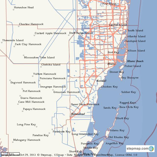 StepMap - miami-dade county - Landkarte für World on