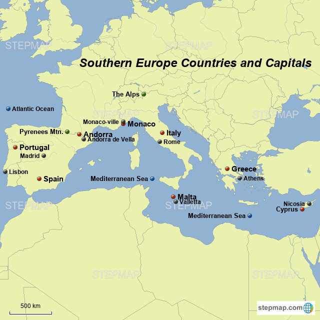 StepMap - southern europe countries and capitals - Landkarte für Germany