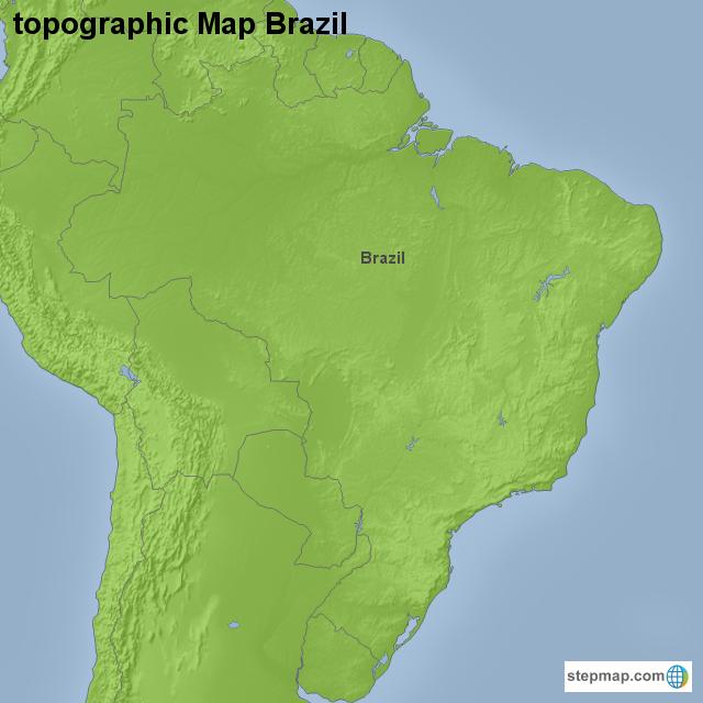 Stepmap Topographic Map Brazil Landkarte Fur Brazil