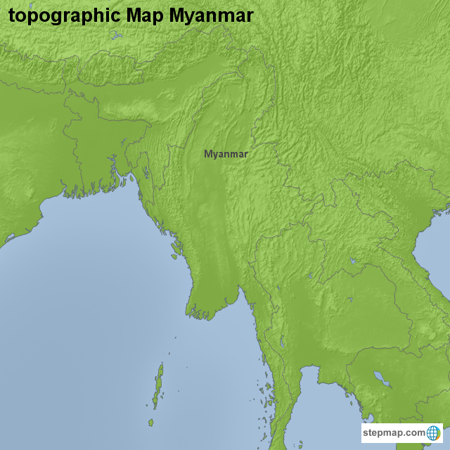 Topographic Map Asia.Stepmap Topographic Map Myanmar Landkarte Fur Asia