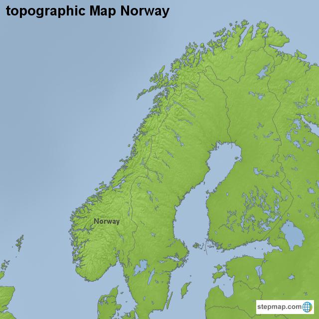 Topographic Map Of Norway.Stepmap Topographic Map Norway Landkarte Fur Norway