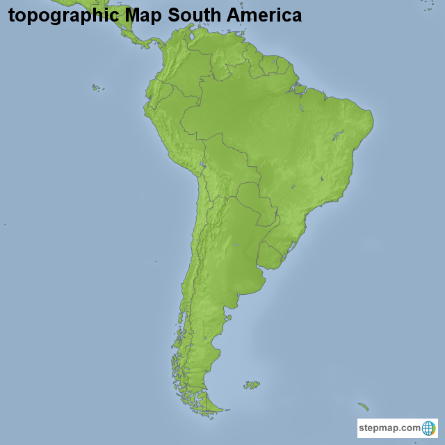 Stepmap Topographic Map South America Landkarte Fur South America