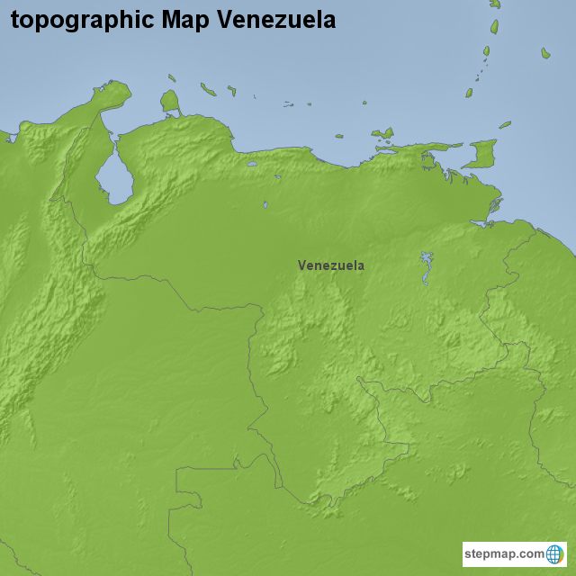 Venezuela Topographic Map.Stepmap Topographic Map Venezuela Landkarte Fur Venezuela