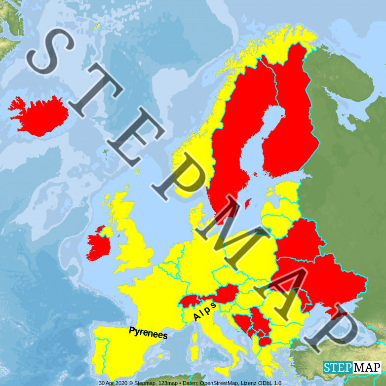 Map: UI308 Europe Map 4 (Pyrenees and Alps)